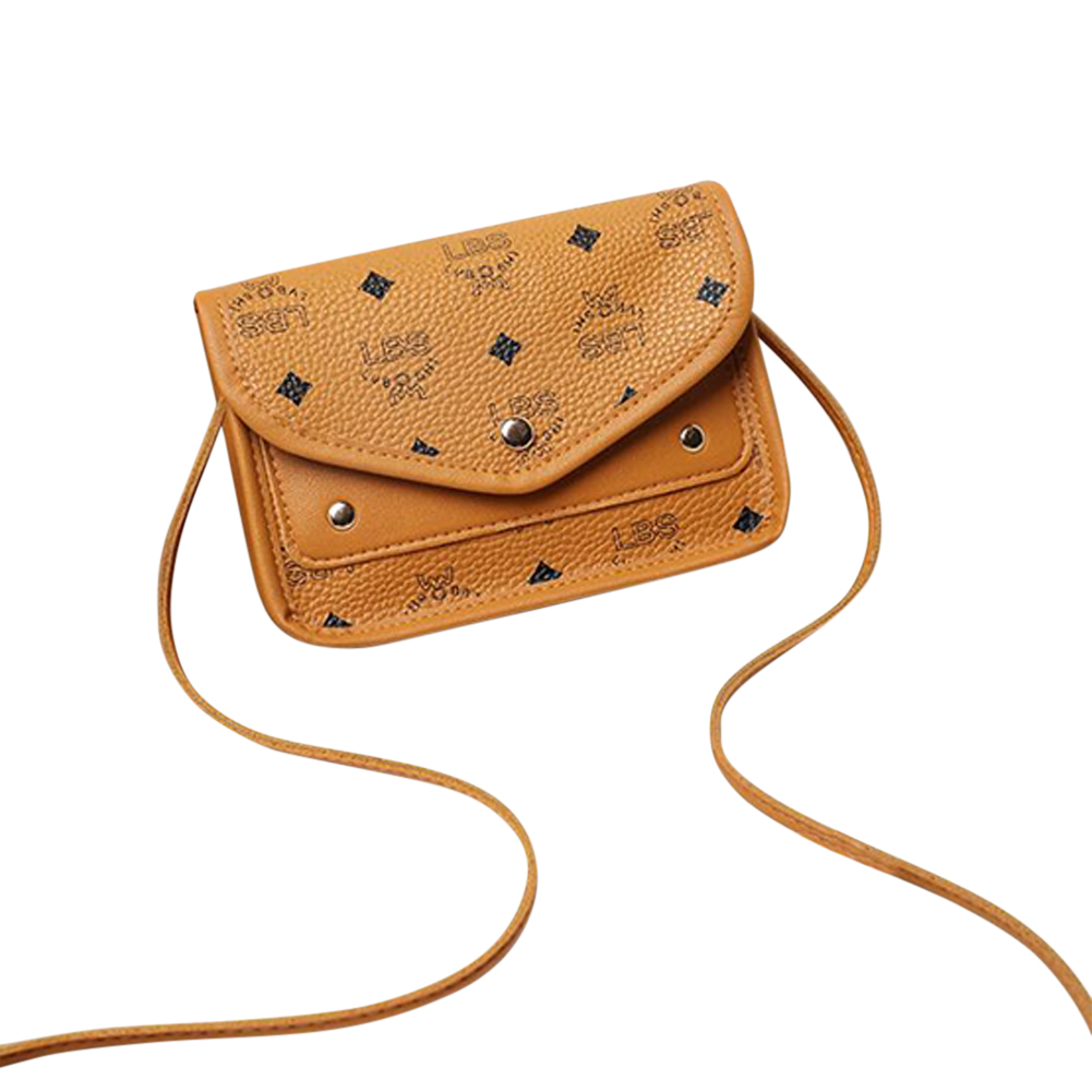 Casual Hit Color Small Square Shoulder Messenger Fashion Mobile Phone Pu Small Bag brown