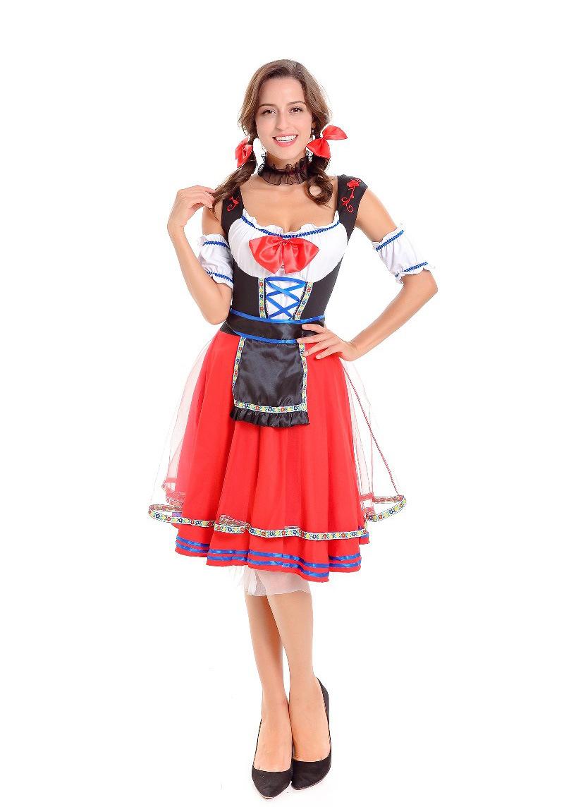 Women Girl Oktoberfest Costume Dress Retro Lady Mesh Dress for Halloween Party red_M