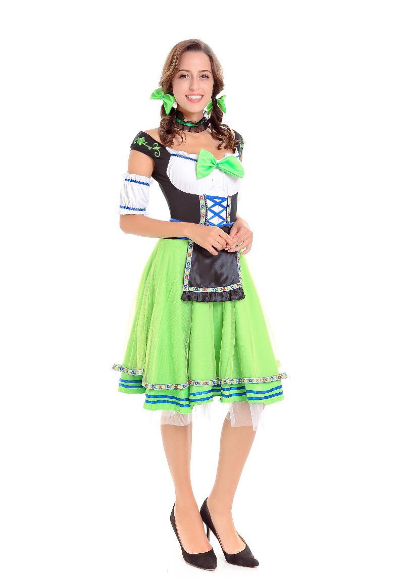Women Girl Oktoberfest Costume Dress Retro Lady Mesh Dress for Halloween Party green_M