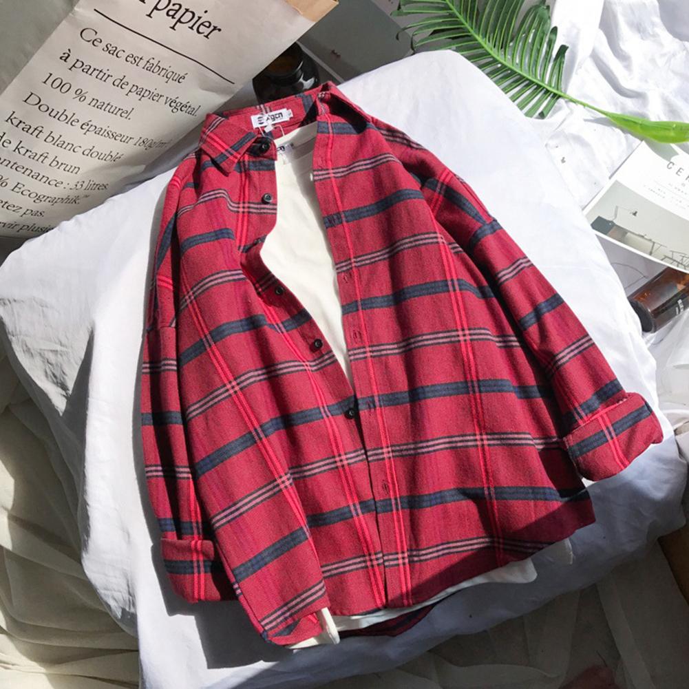 Unisex Long Sleeve Fresh Style Loose Retro Chic Shirt red_L