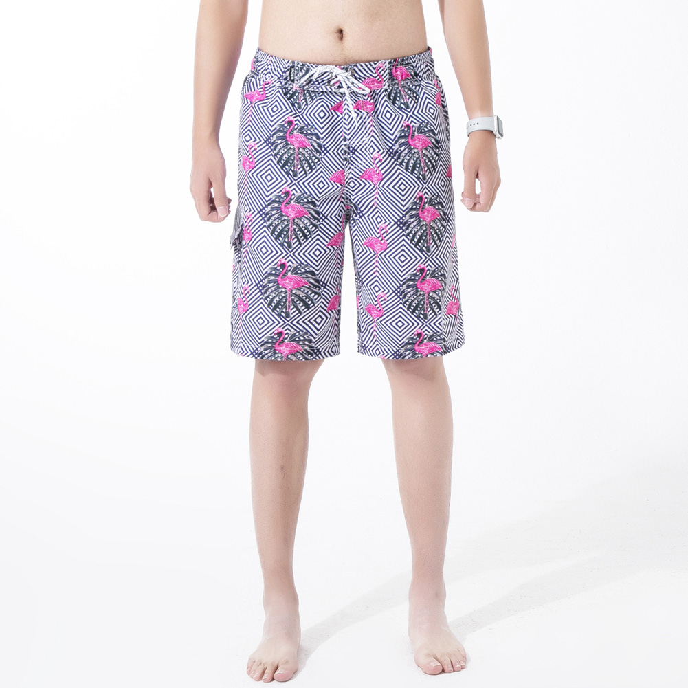 Men Summer Printed Casual Sports Quick-drying Loose Shorts Beach Pants Photo Color_M