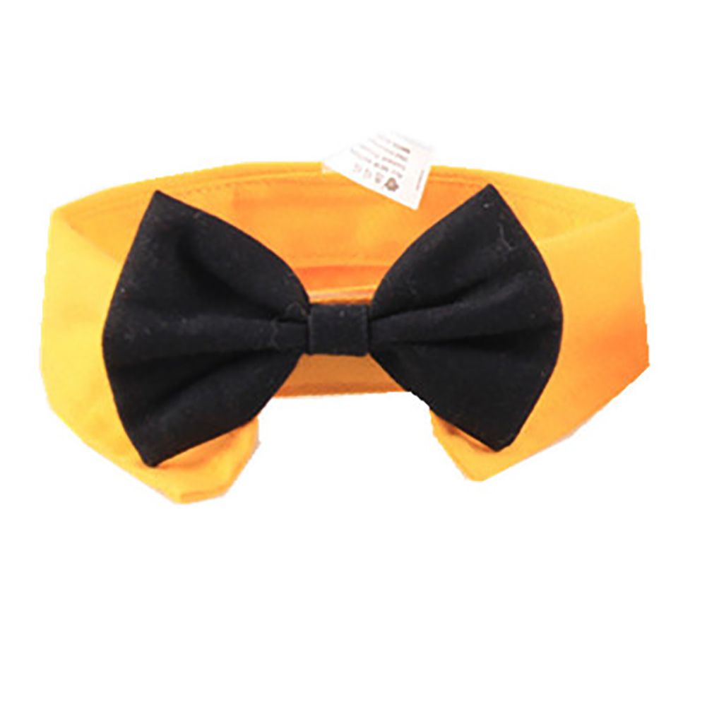 Pet Bow Tie Cotton Collar for Puppy Dog Cats Cosplay Costume Accessaries yellow_L