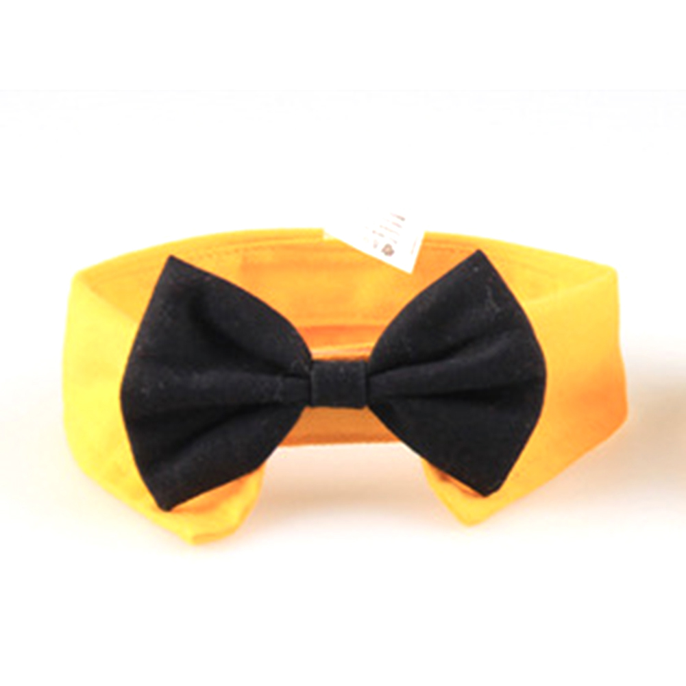 Pet Bow Tie Cotton Collar for Puppy Dog Cats Cosplay Costume Accessaries yellow_S