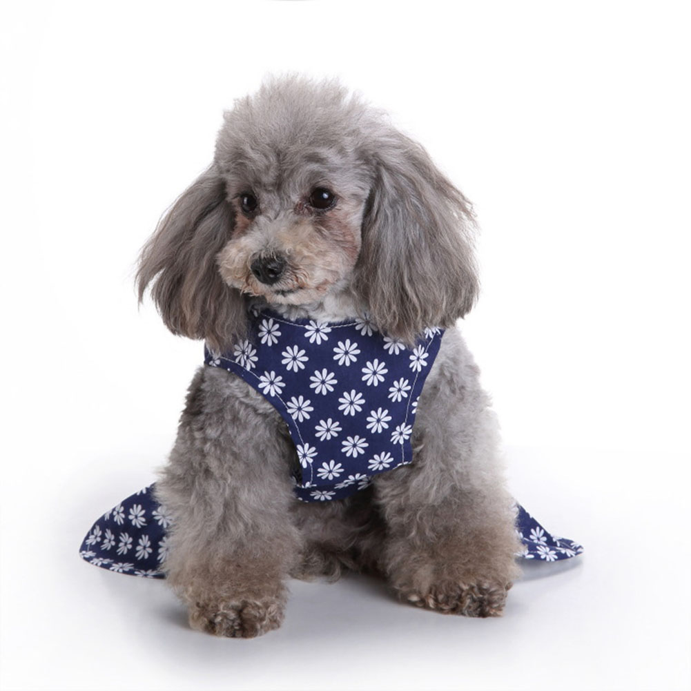 Polyester Pet  Clothes Summer Plaid    Skirt For Dog Pet Clothing Supplies blue_L