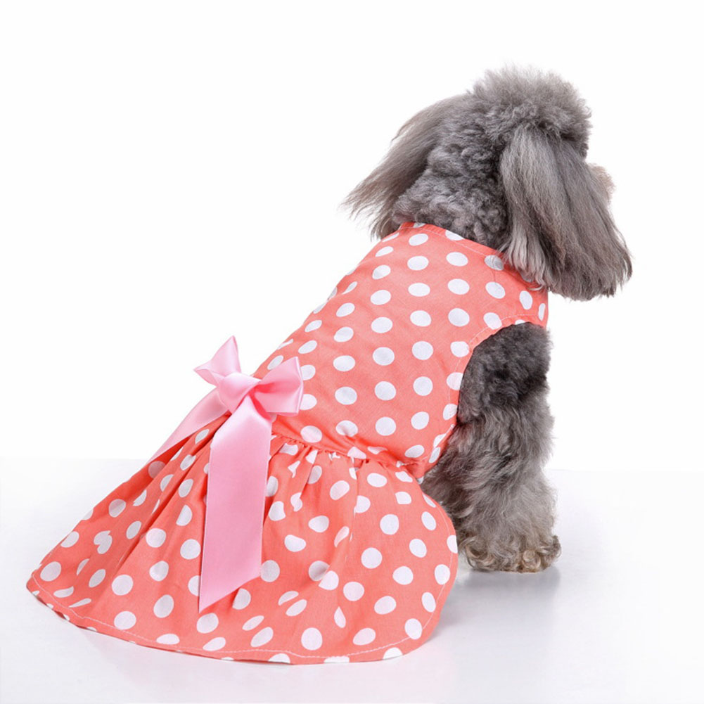 Polyester Pet  Clothes Summer Plaid    Skirt For Dog Pet Clothing Supplies Orange_L