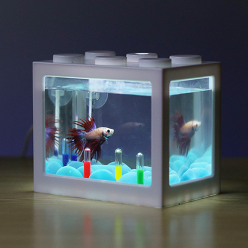 Mini Aquarium with Light Fishbowl for Home Office Tea Table Decoration White
