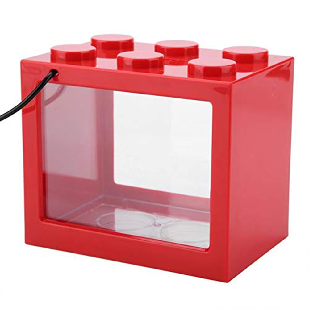 Mini Aquarium with Light Fishbowl for Home Office Tea Table Decoration Red