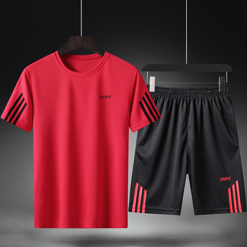Male Sports Wear Quick Dry Casual Training Suits for Man Basketball Football Jogging red_L