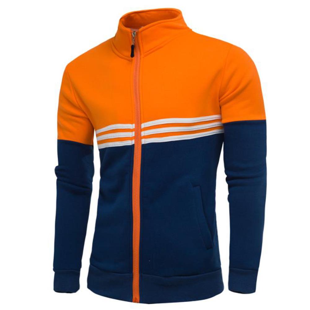 Men Fashion Coat Colour Matching Stand Collar Long SLeeve Jacket  Orange_L