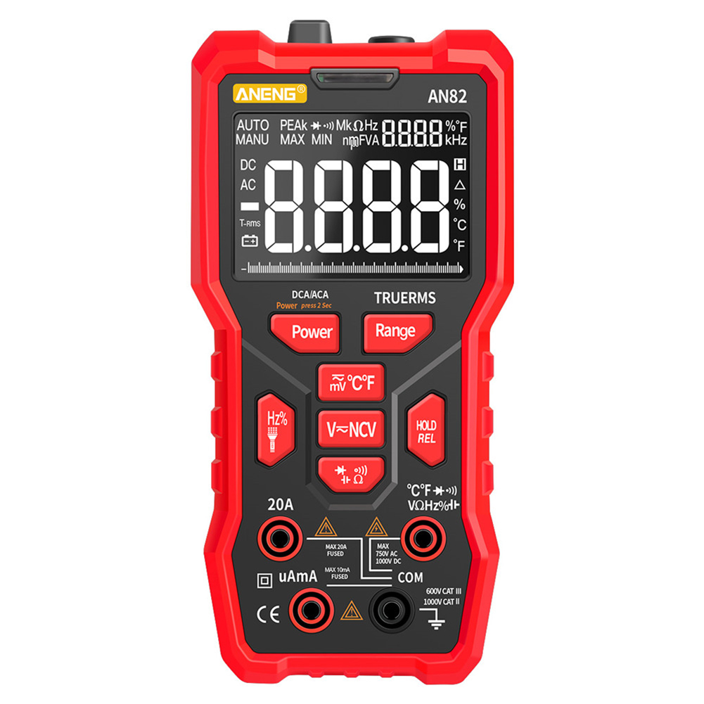 Digital Multimeter Professional 9999 Tester Thermocouple Kit Va Display Screen Low configuration red
