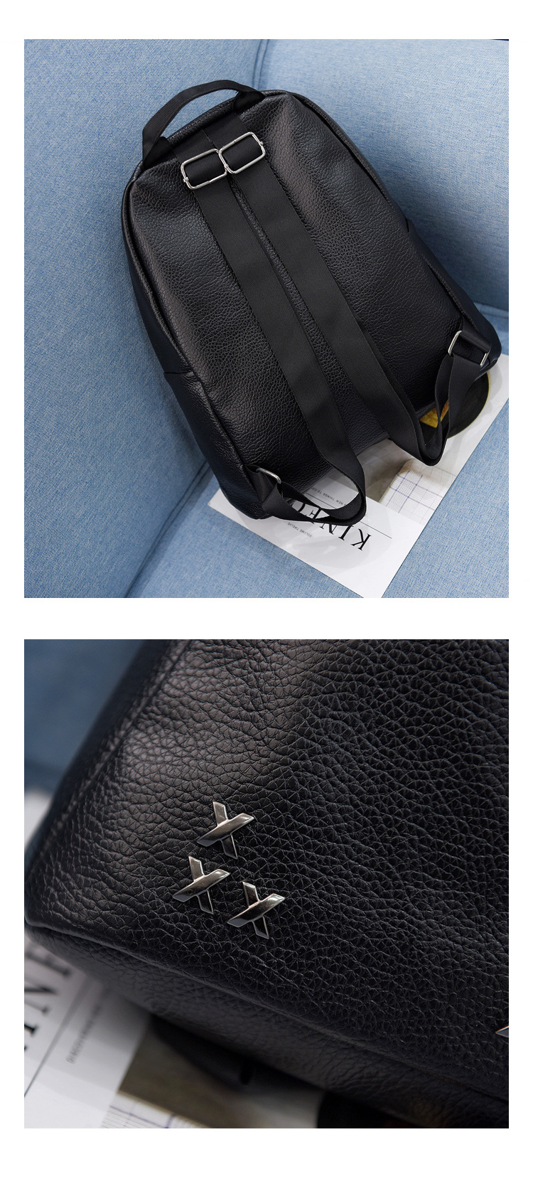 Women Fashion Cross Rivet Casual PU Backpack