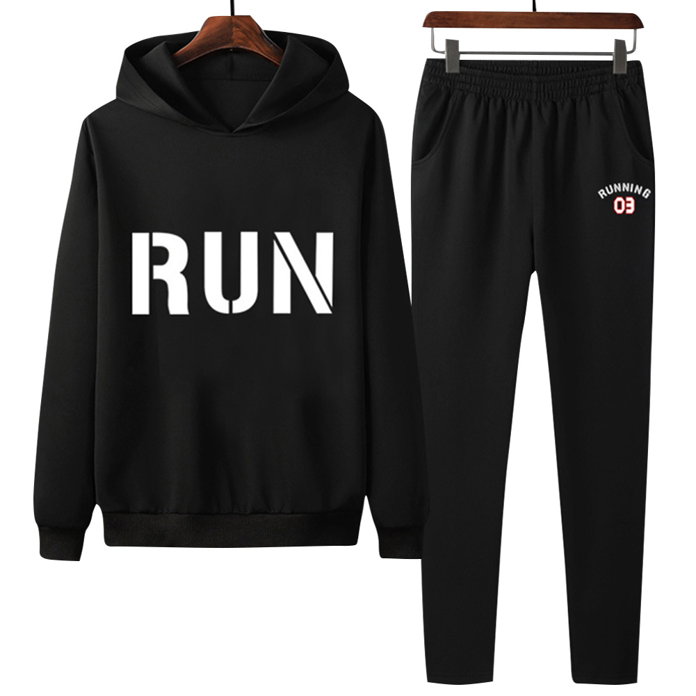 2Pcs/set Men Hoodie Sweatshirt Sports Pants Printing RUN Casual Sportswear Student Tracksuit Black_L