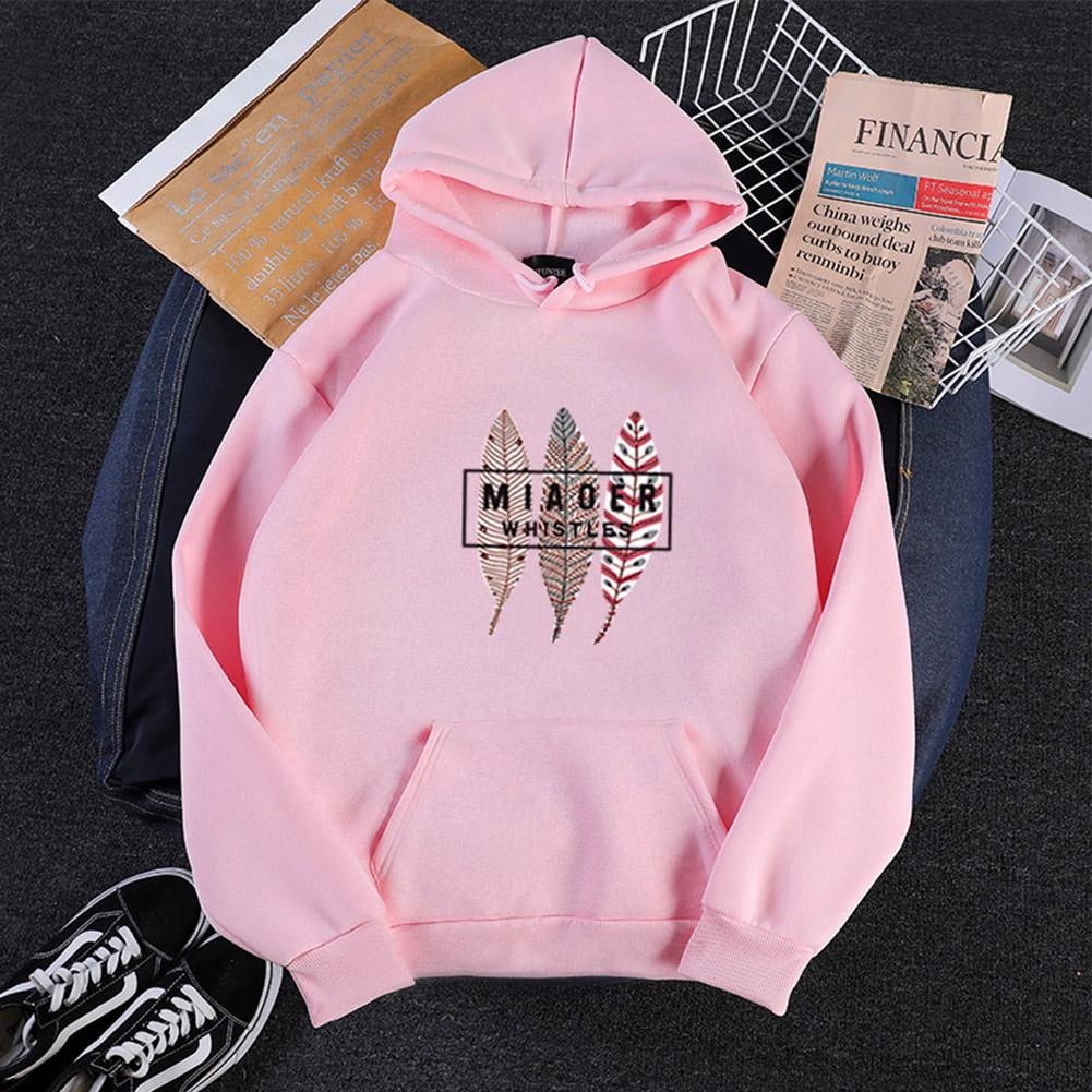 Men Women Hoodies Oversize Sweatshirt Loose Thicken Velvet Autumn Winter Pullover Pink_L