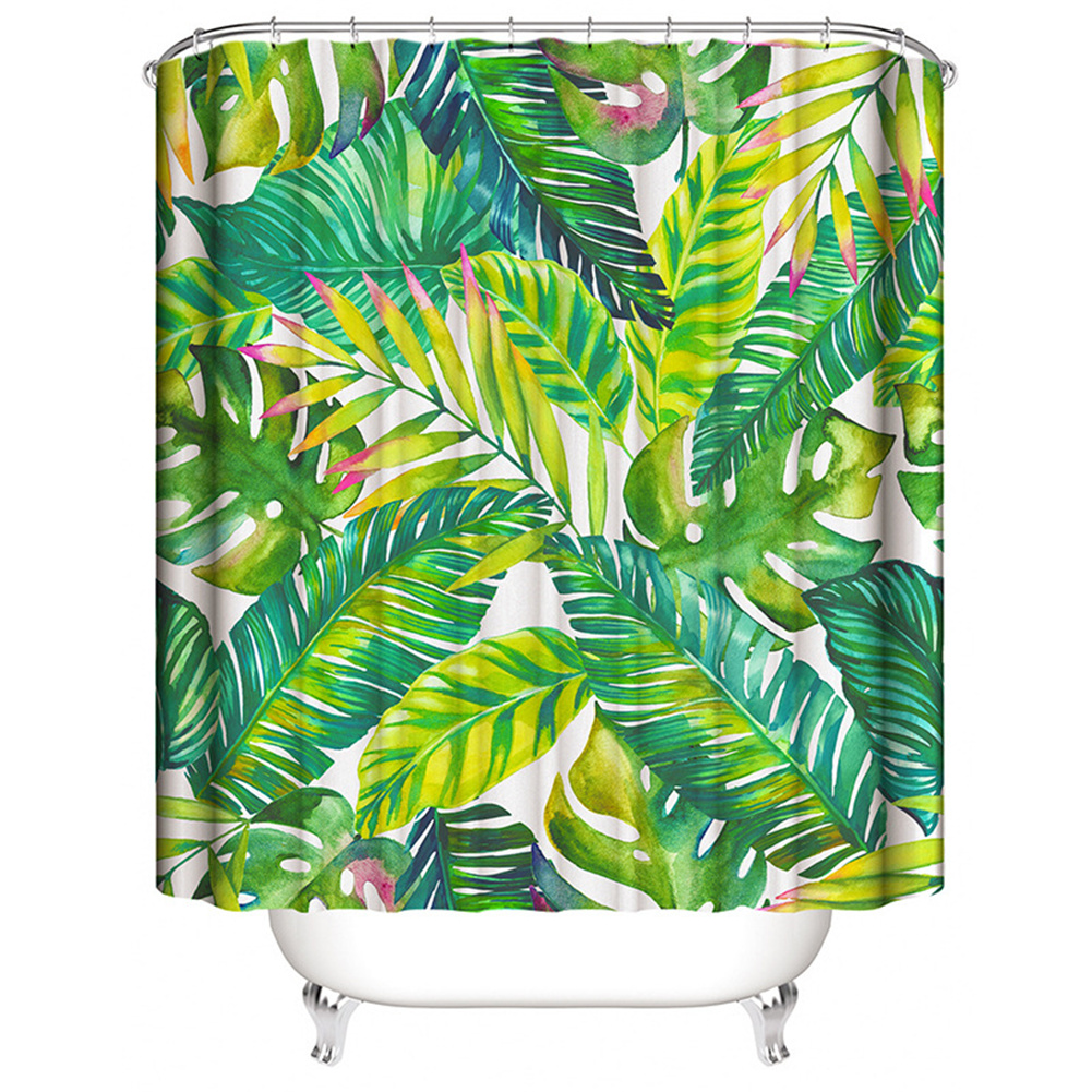 Home Plant Leaves Painting Shower  Curtains Waterproof Bath Curtain Decoration 180*180cm