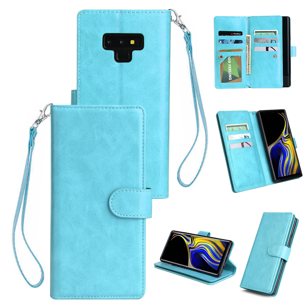 For Samsung Note 9 PU Full Protective Cover with 9 Card Slot Lanyard Bracket Buckle blue