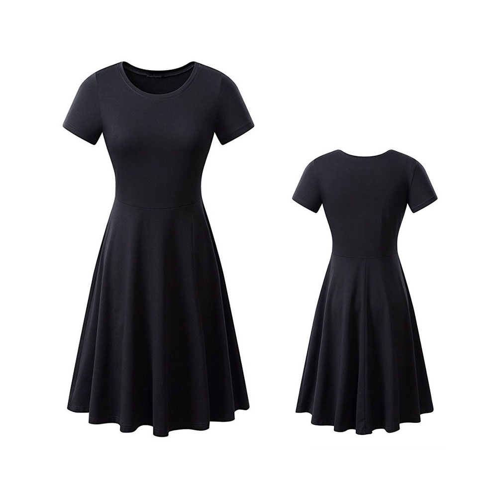 Woman Fashionable  Loose Pure Color  Short Sleeve Round-collar Simple Comfortable Dress black_S