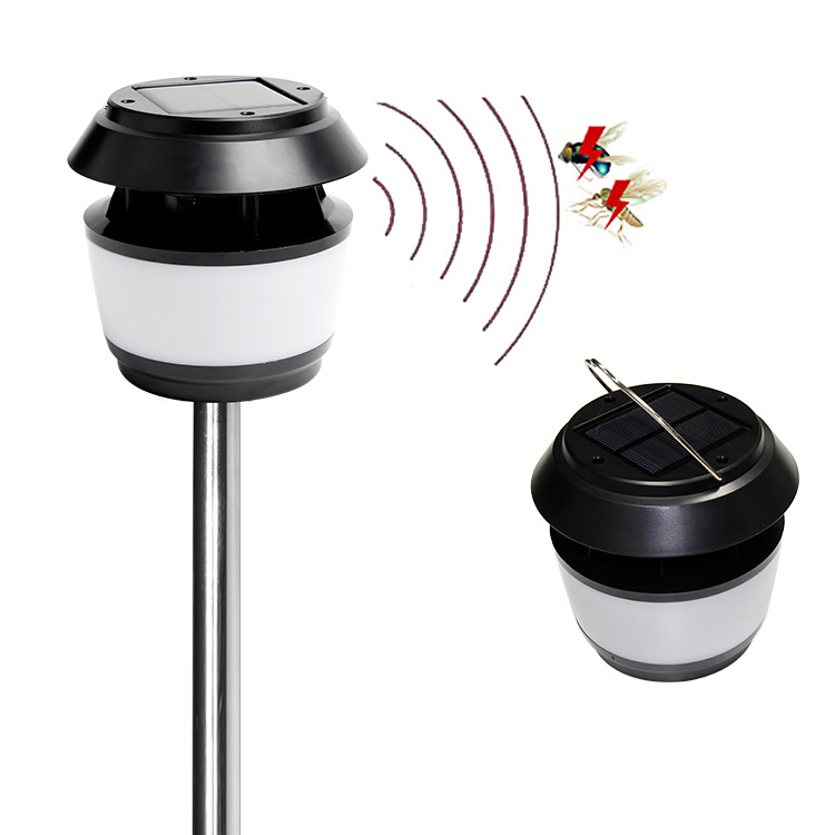 Solar Mosquito Killer Night Light Ultrasonic Outdoor Yard Garden Mosquito Repellent Trapping lamp White light