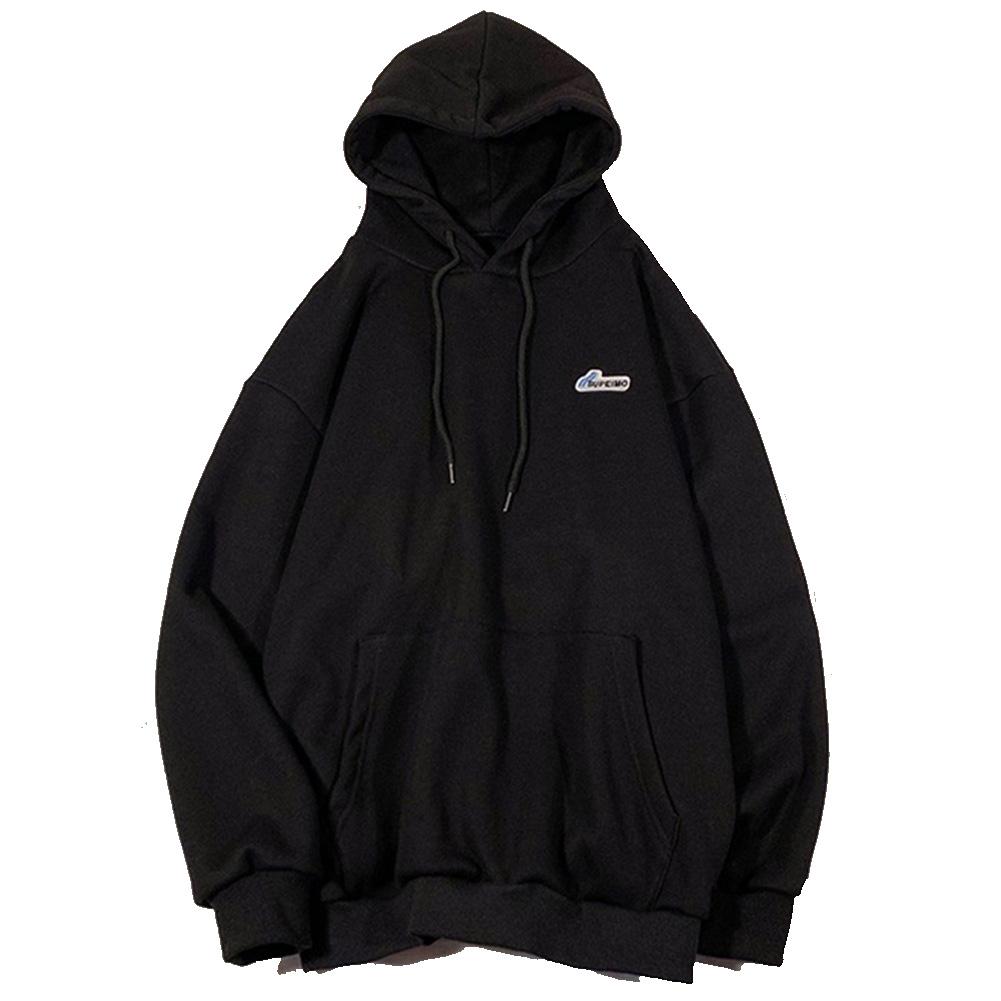 Men Women Hoodie Sweatshirt Letter Solid Color Loose Fashion Pullover Tops Black_L