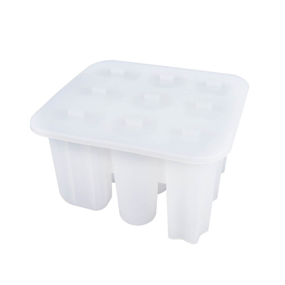 Silicone 9-grid Diy Ice Maker Homemade Ice Cream Mold Popsicle  Shaper Transparent white