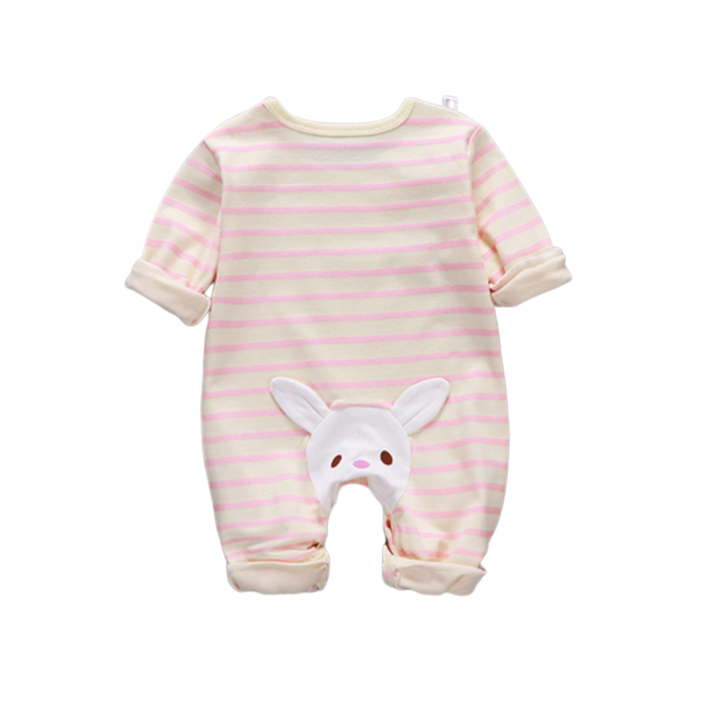 Baby Piece Jumpsuits Cotton Long Sleeve Tops for Daily Out Wearing Pink stripes ( Sakura Pink with bunny)_80