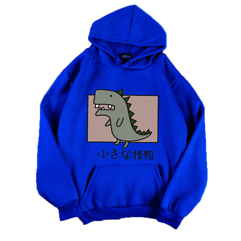 Boy Girl Hoodie Sweatshirt Cartoon Dinosaur Printing Loose Spring Autumn Student Pullover Tops Blue_XL