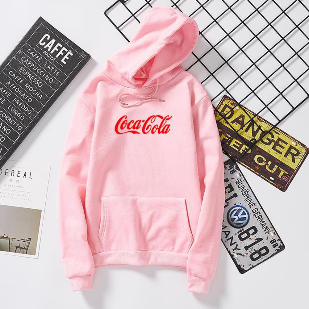 Men Women Coca-Cola Hoodies Retro Casual Fashion Sweatshirts Pink 995#_L