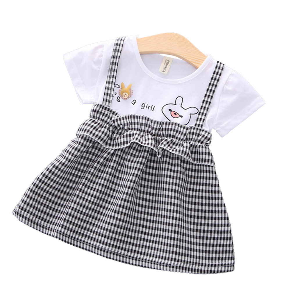 Girls Dress Plaid Pattern Princess Dress for 0-3 Years Old Kids black_S