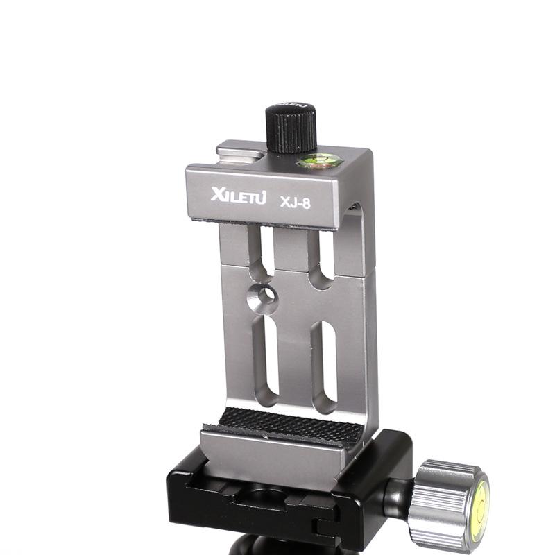 Tripod Head Bracket Mobile Phone Holder Clip for Phone Flashlight Microphone  Titanium