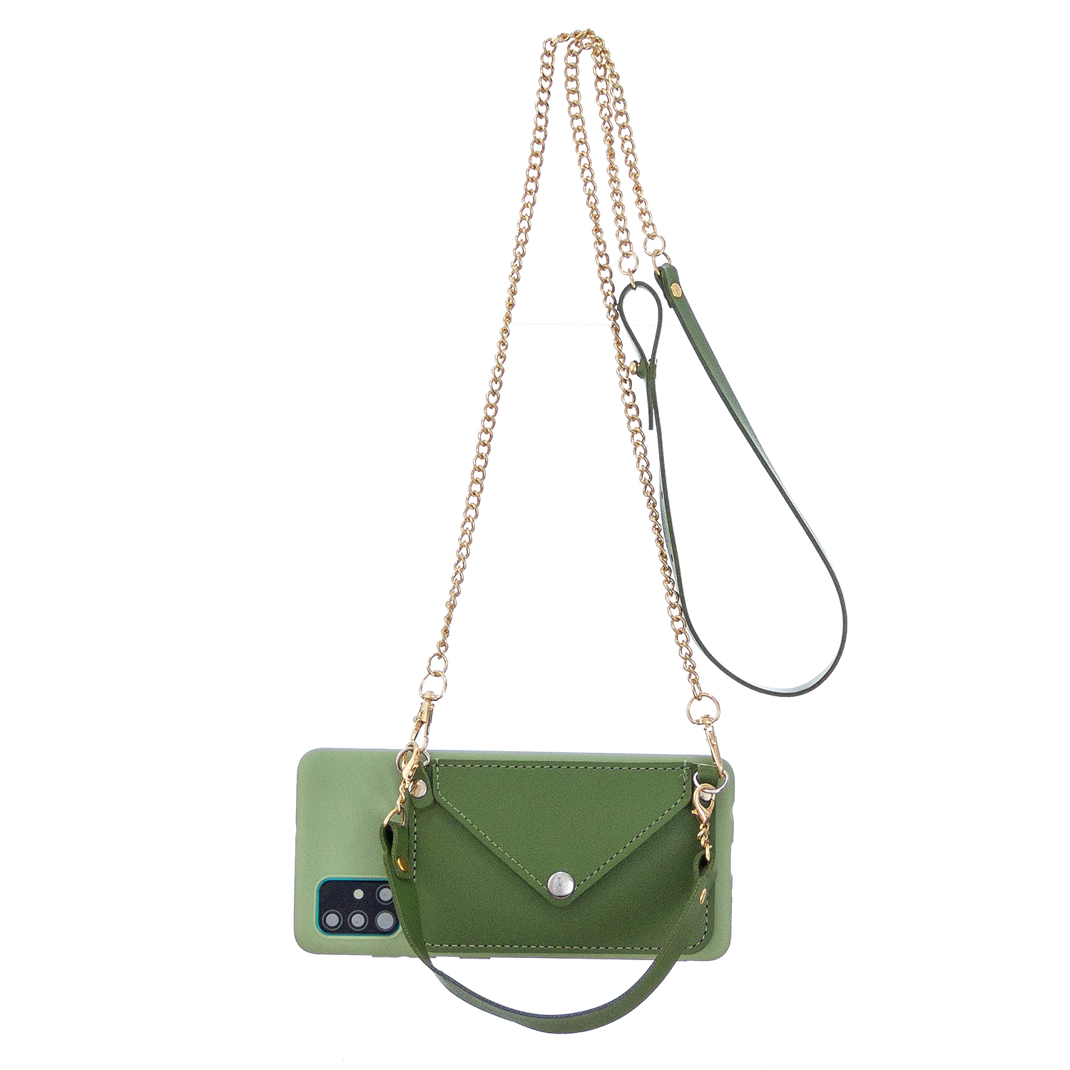 For HUAWEI P40/P40 Lite/P40 Pro Mobile Phone Cover with Pu Leather Card Holder + Hand Rope + Straddle Rope green