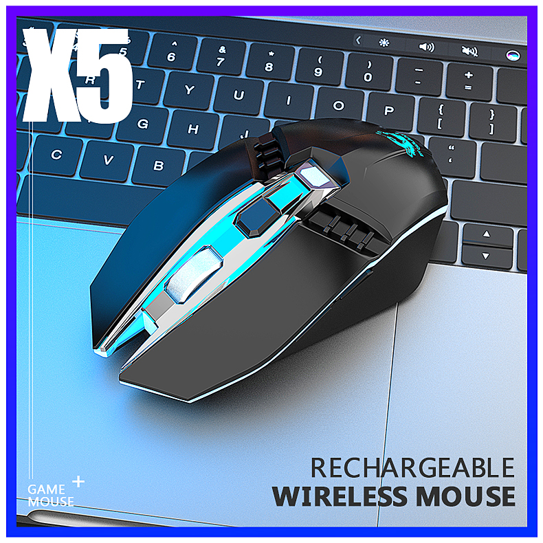 X5 Wireless Gaming Mouse Rechargeable 500mAh Battery Bluetooth 3.0+5.0+2.4G Wireless Optical Mice Adjustable DPI Levels for Laptop PC Mac black