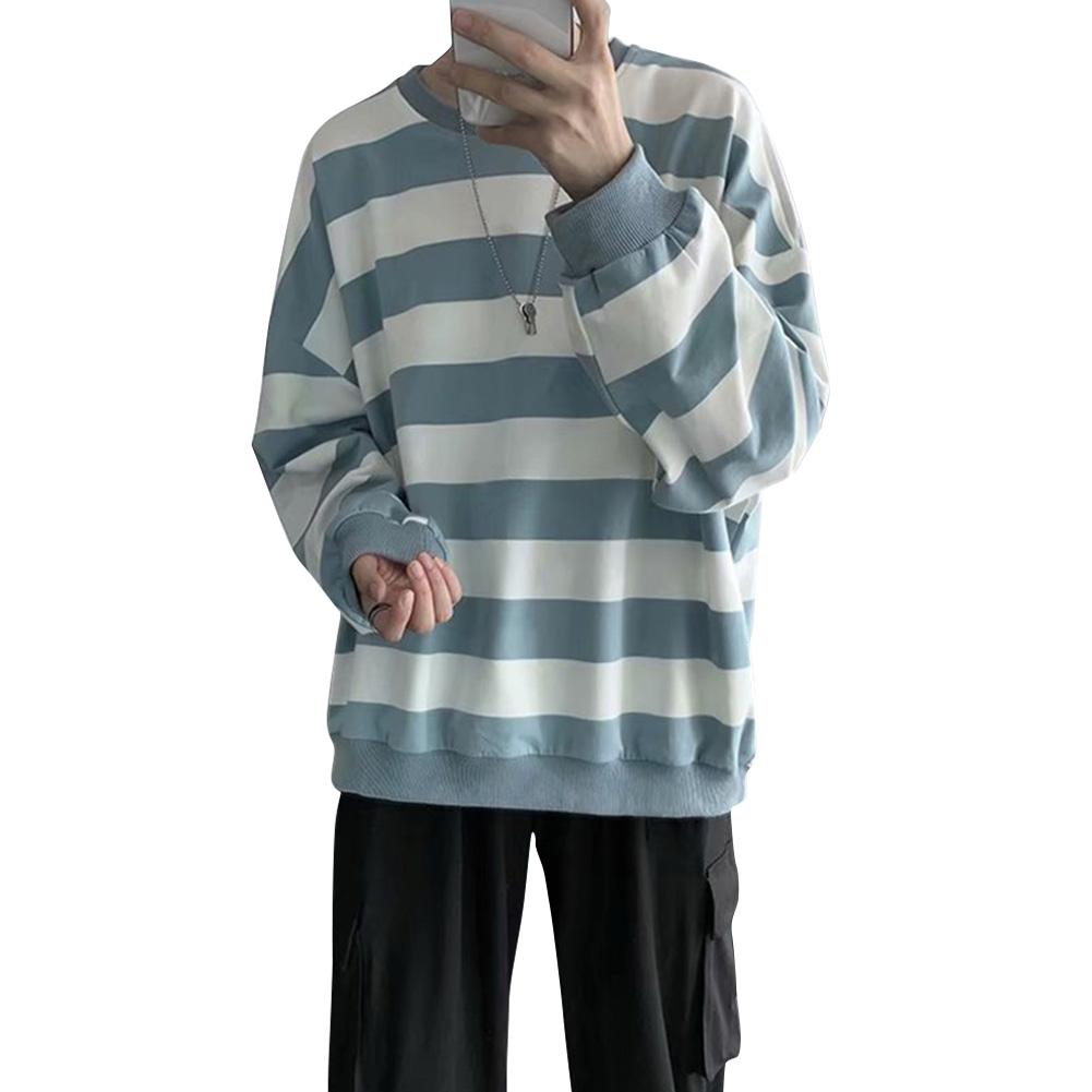 Men Women Sweatshirt Crew Neck Combined Color Stripe Loose Long Sleeve T-shirt Pullover Tops Light blue_2XL