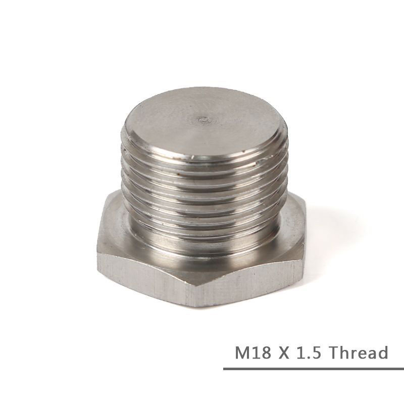 O2 Oxygen Sensor Bung Plug Cap M18 X 1.5 Thread Silver 304 Stainless Steel