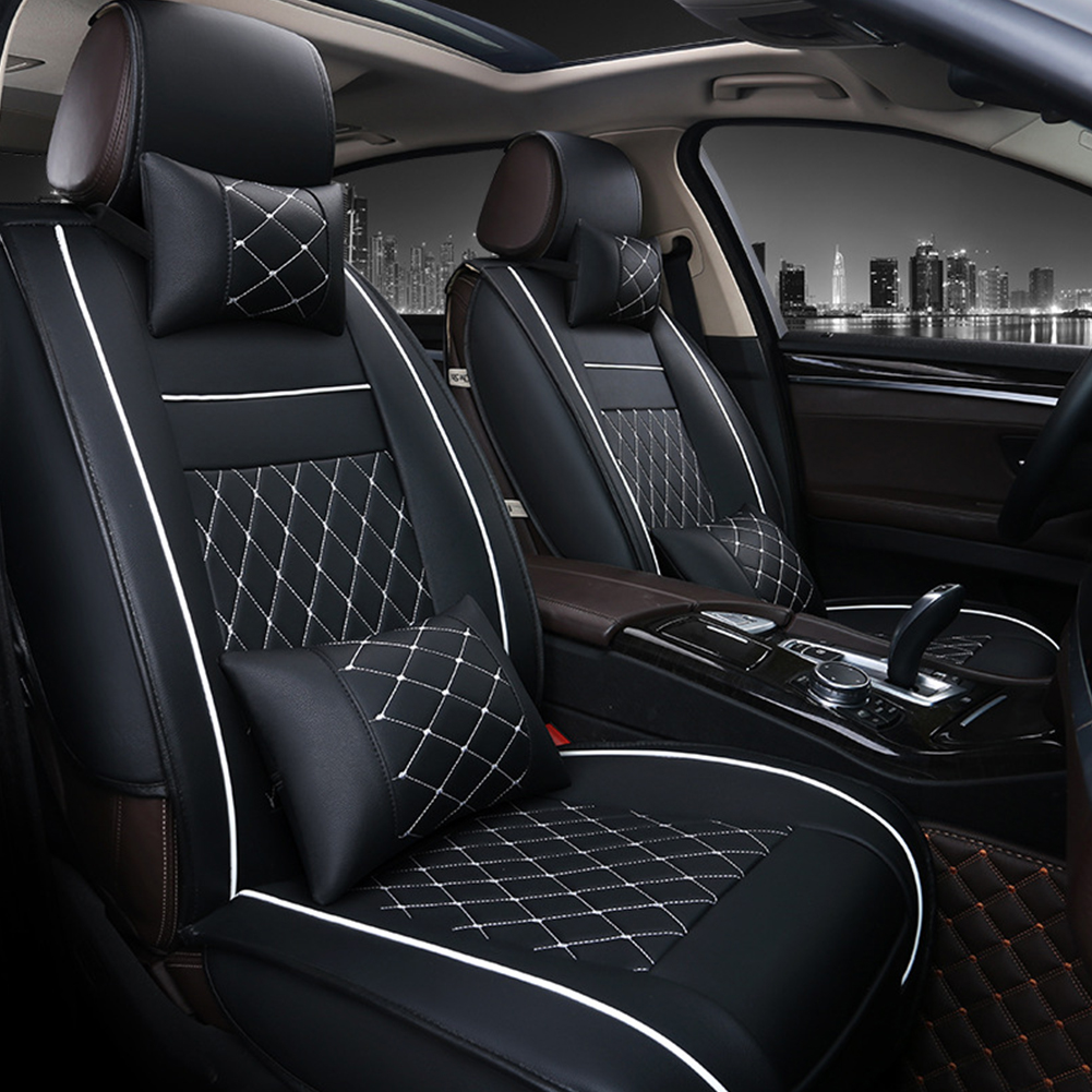 Universal All Car Leather Support Pad Car Seat Covers Cushion Accessories Black and white luxury single