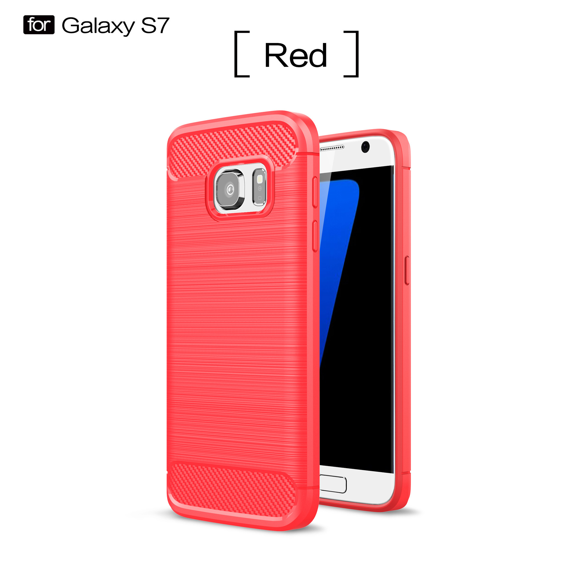 Carbon Fibre Phone Protective Back Cover, TPU Full Coverage Shockproof Anti-fall Slim Shell Case for Samsung S7