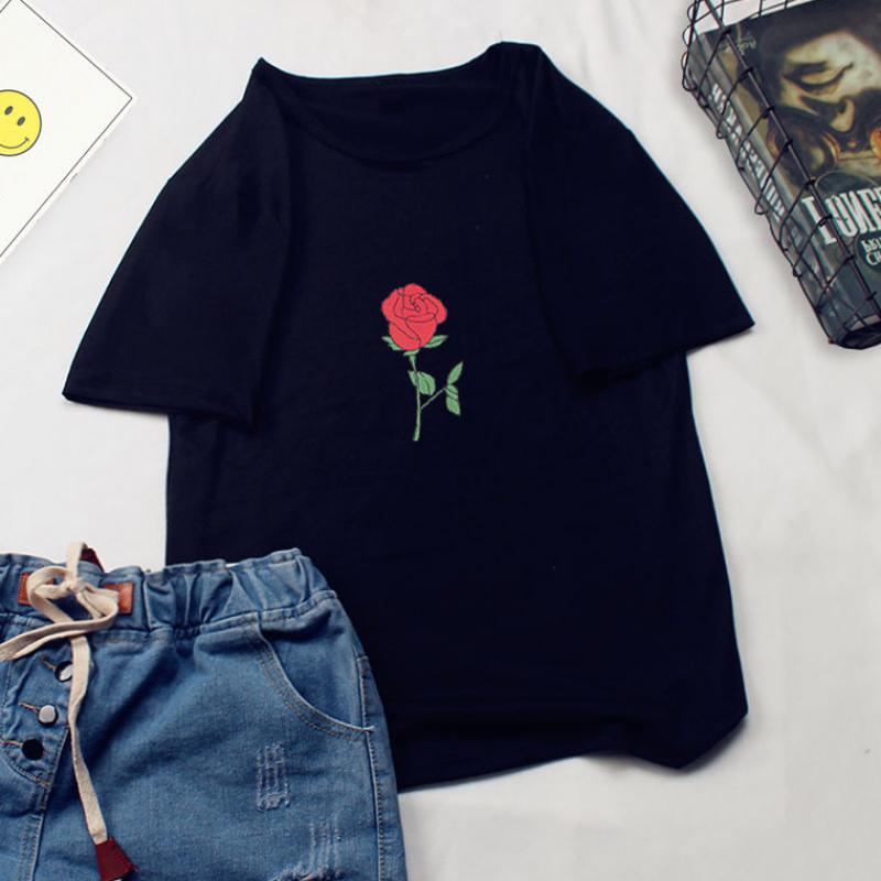 Unisex Summer Cartoon Letters Printing Loose Short Sleeve T-shirt