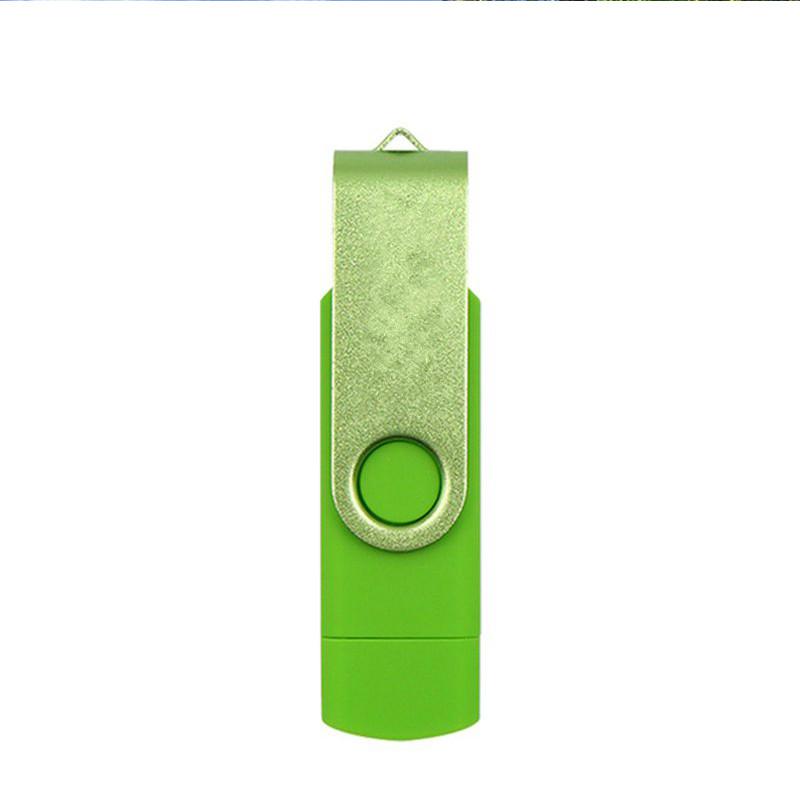 Double Swivel Cap High Speed Type C USB3.1 U Disk L16 USB Flash Drive green_64G