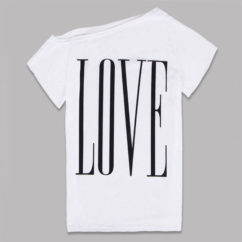 Woman Large Round Collar Short Sleeves LOVE Letters Printing T-shirt white_S