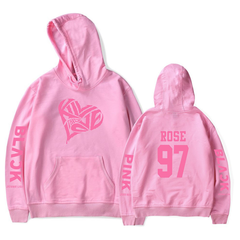 BLACKPINK 2D Pattern Printed Hoodie Leisure Pullover Top for Man and Woman Pink 5_XXL