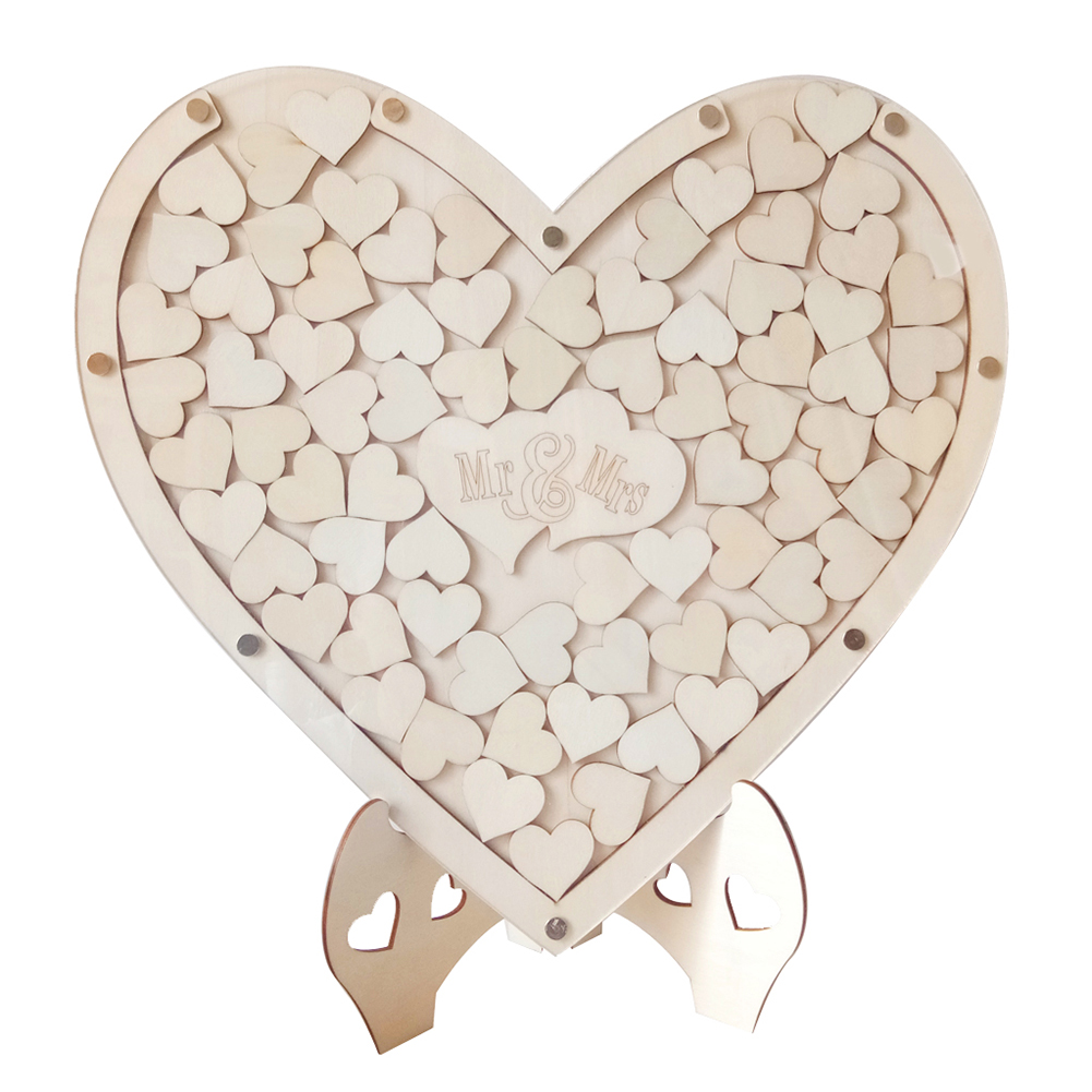 Loving Heart Shape Wooden Tabletop Guest Book Message Pad for Wedding Party JM01671