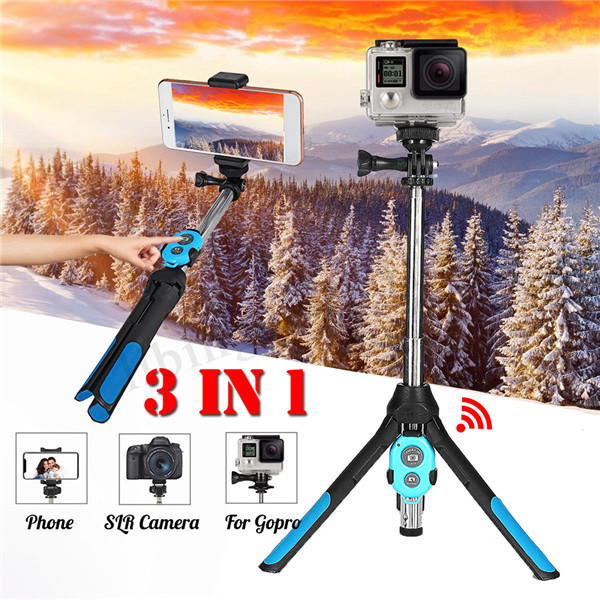 Portable Extendable Monopod Selfie Stick Tripod Bluetooth Remote for Phone Camera GoPro blue