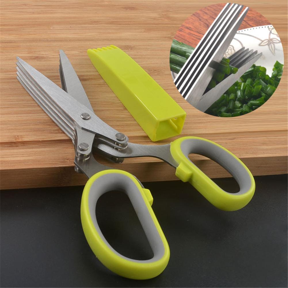 5 Layer Shredded  Scissor Chopping Tool Cut Kitchen Scallion Cutter Herb Vegetable Shear Scissors + knife set + blister packaging