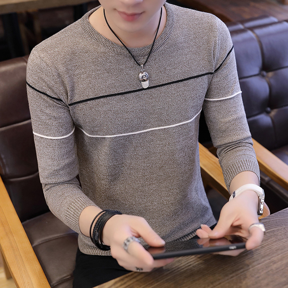 Man Long sleeves and Round Neck Top Slim Pullover Sweater with Strips Decorated Khaki_M