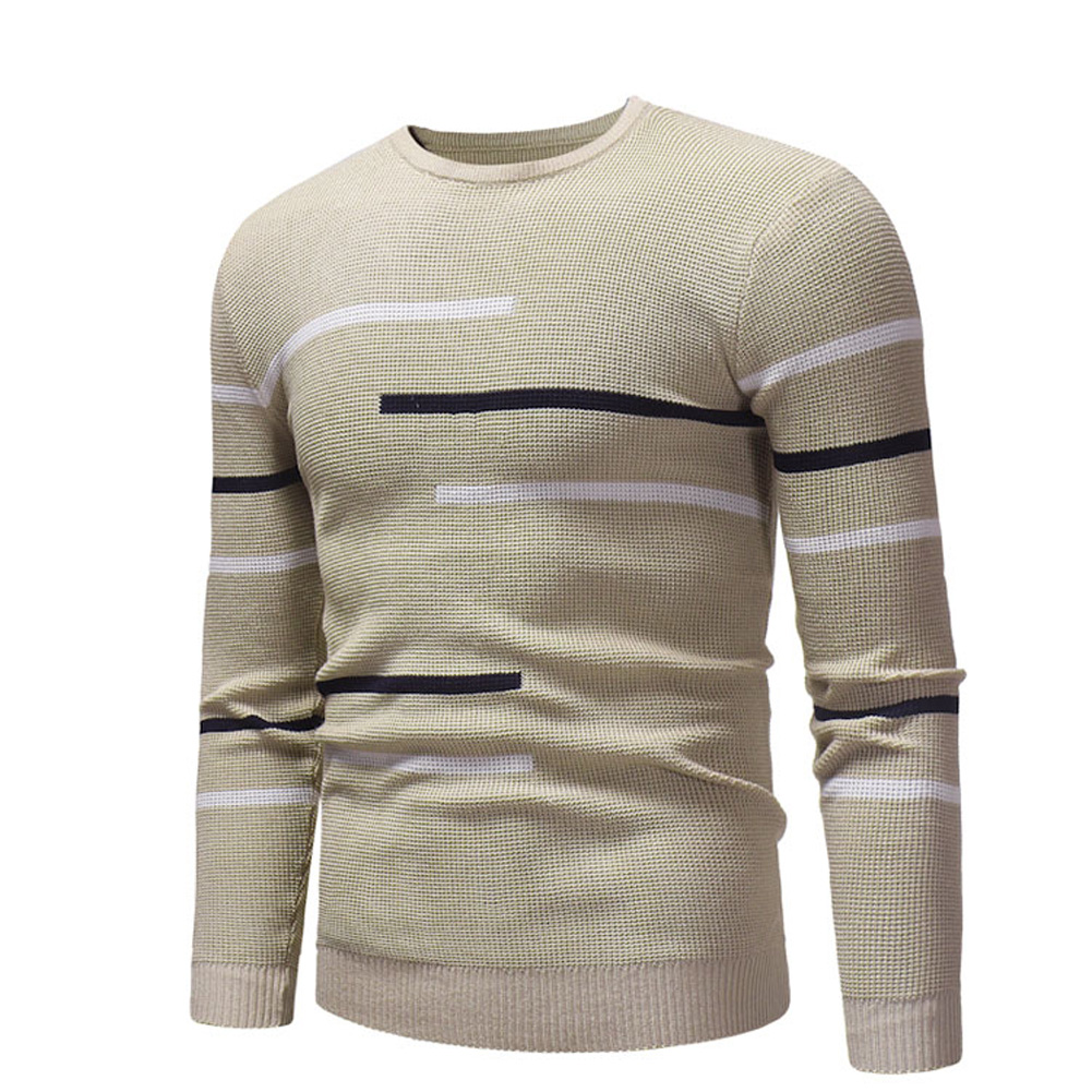 Casual Slim Base Shirt Strips Decorated Top Pullover of Long Sleeves and Round Neck for Man Khaki_M