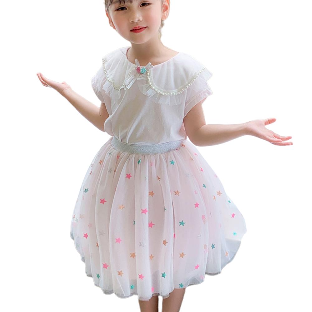 2 Pcs/set Girls Suit Lapel Short-sleeve Top + Star Mesh Skirt for 3-8 Years Old Girls Pink_120cm