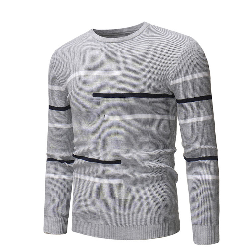 Casual Slim Base Shirt Strips Decorated Top Pullover of Long Sleeves and Round Neck for Man gray_XL