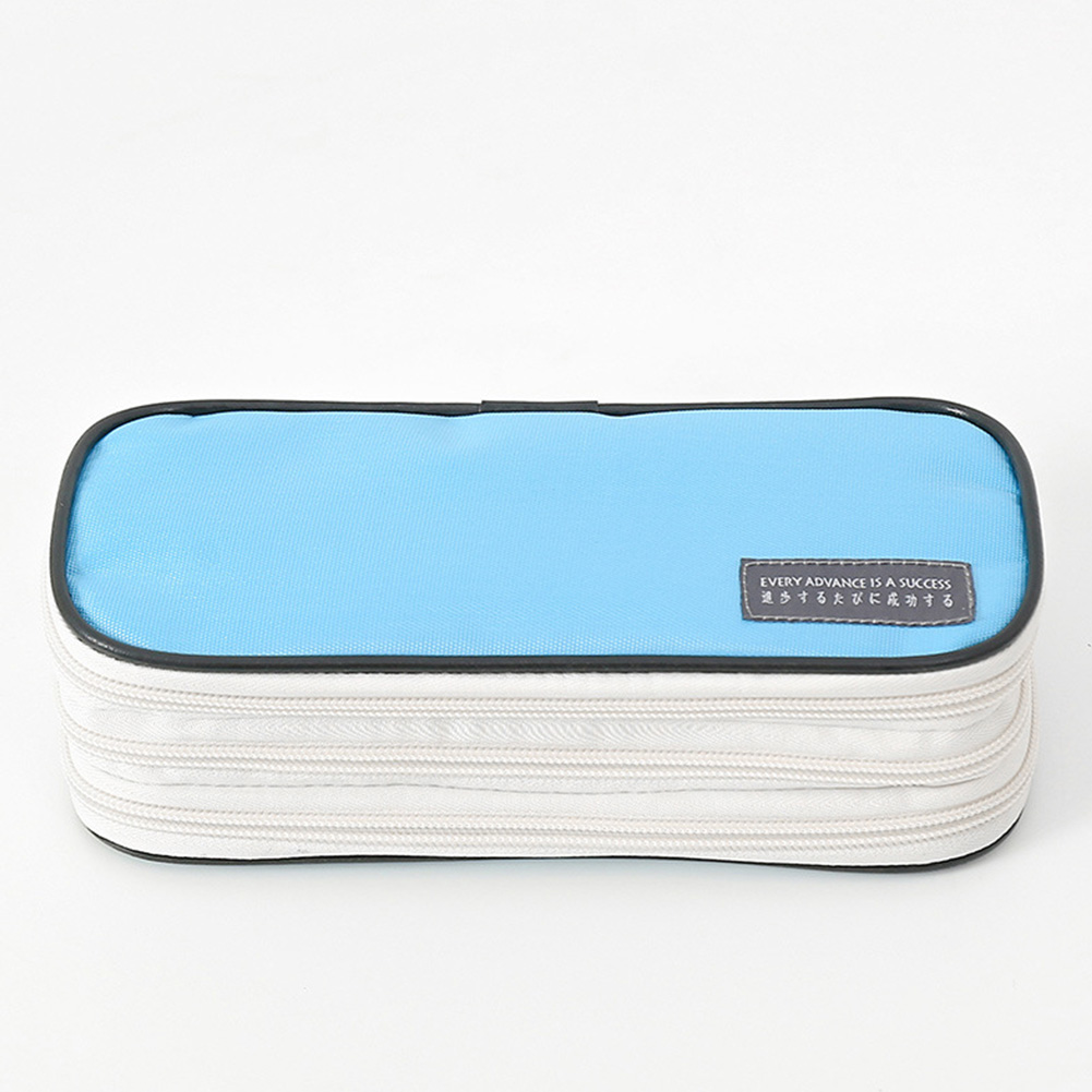 3-Layer Pencil Case Big Capacity Waterproof Zipper Pen Bag Pouch School Stationery Supply sky blue