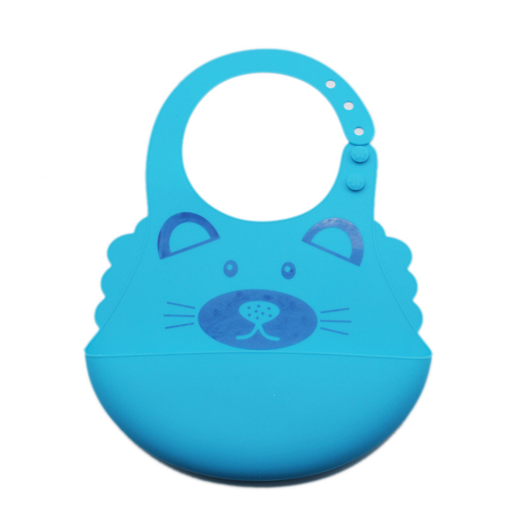 Baby Cute Cartoon Printing Waterproof Silicone Bib Rice Pocket  Light blue