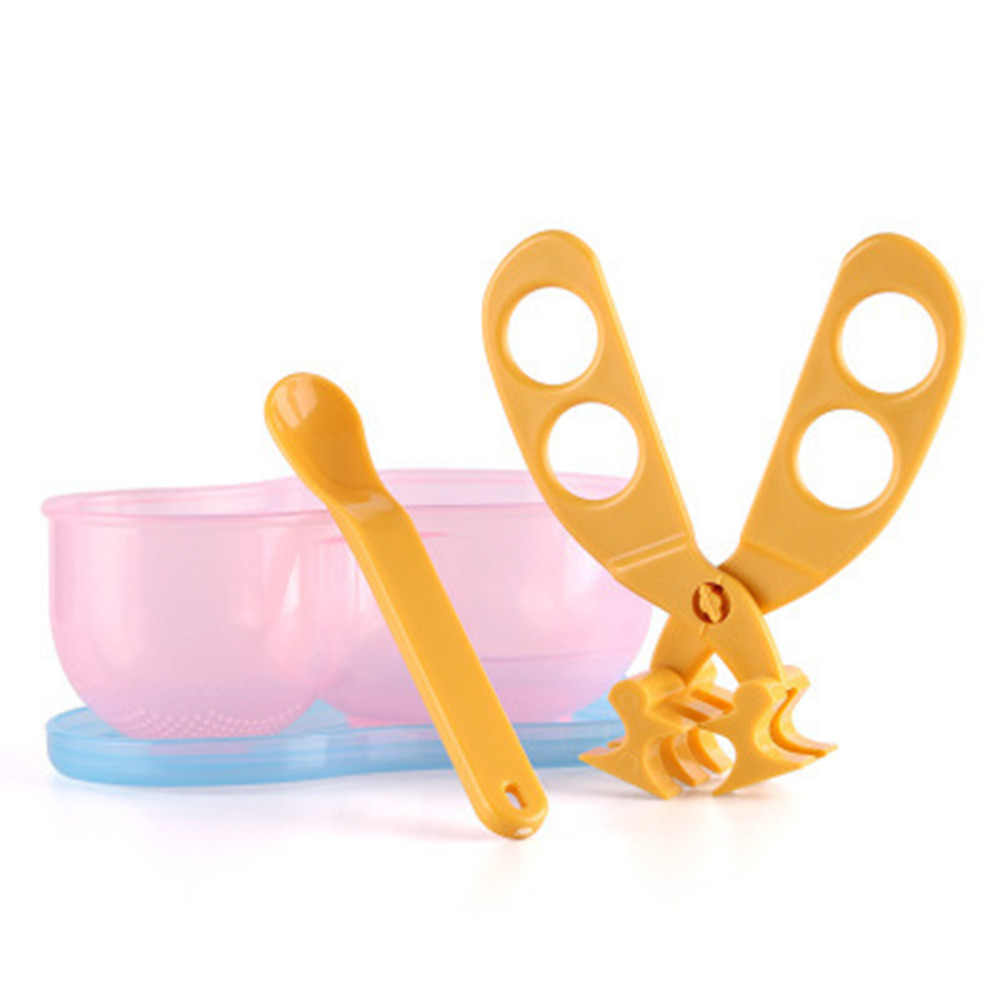 Multi-function Portable PP Clip Scissors Baby Food Cut Supplement Scissors Pink