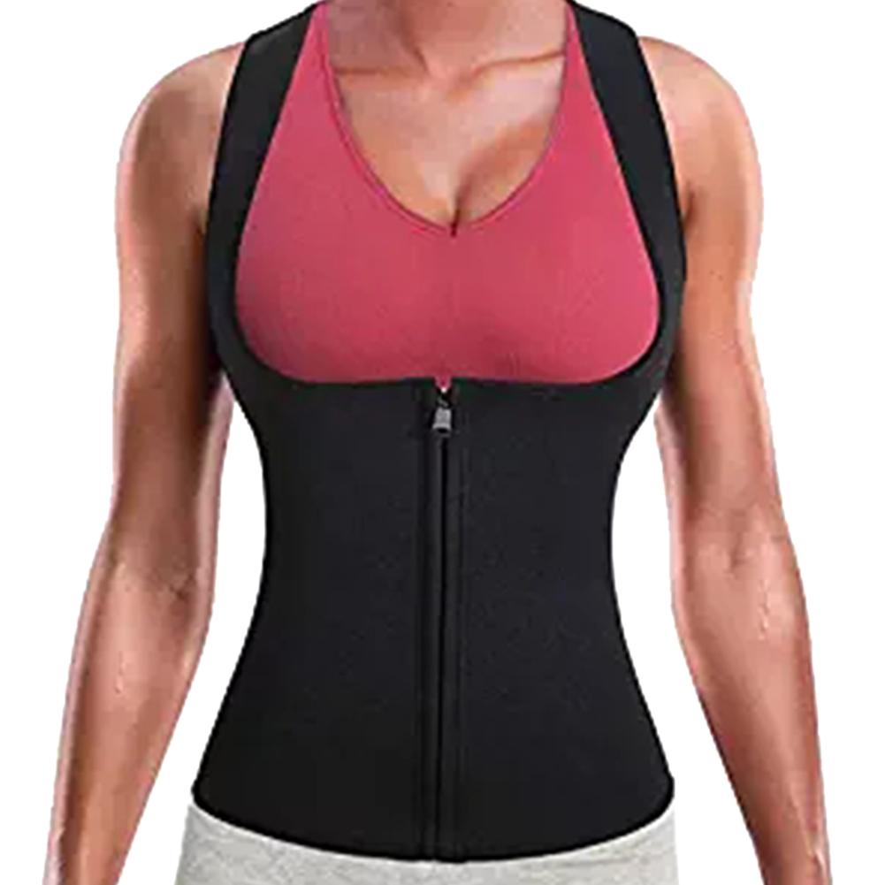 Women Neoprene Zipper Suit Waist Trainer Vest for Weightloss Hot Thermal Corset  black_M