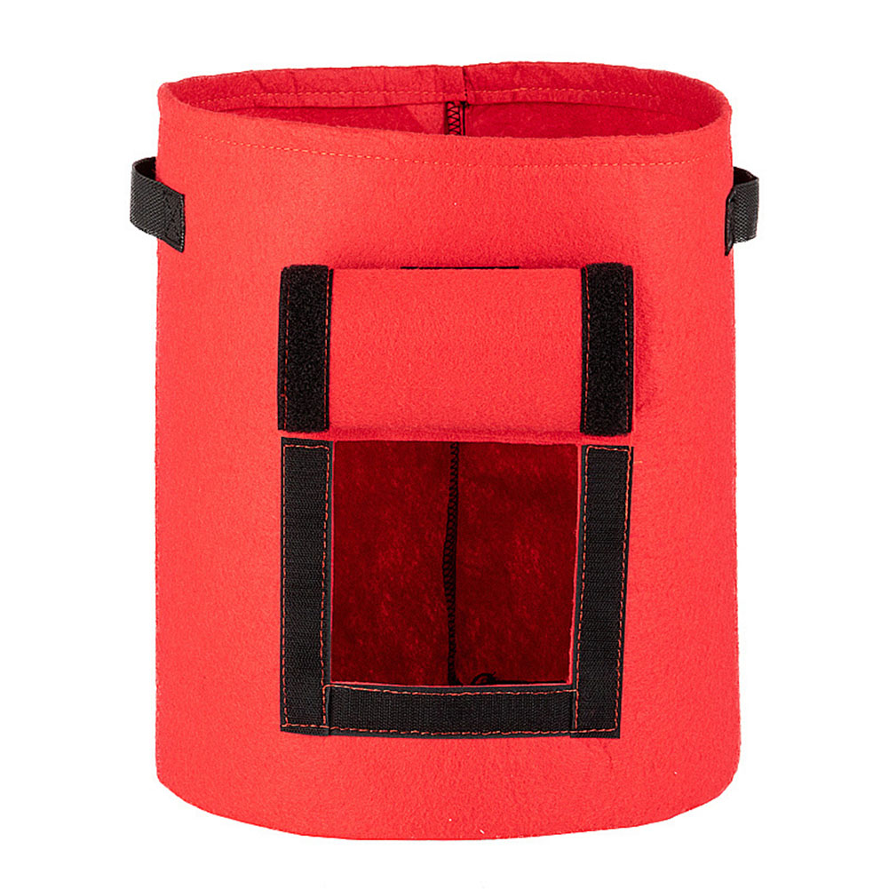 Eco-Friendly Garden Planter Bag Plant Tub with Access Flap for Harvesting Growing Vegetables  red_Large (33D*38H) 40 L